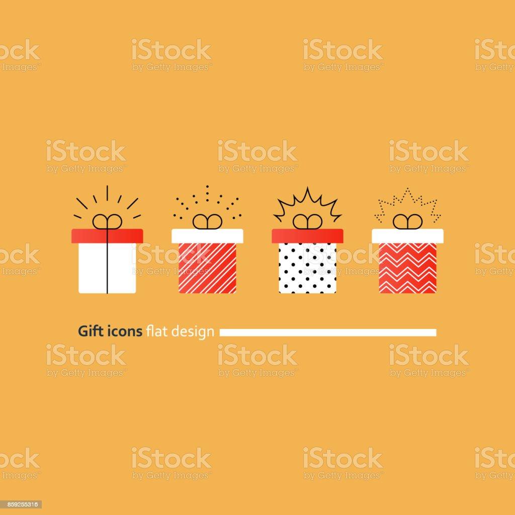 Congratulations gift box, perfect present, prize award icon vector art illustration