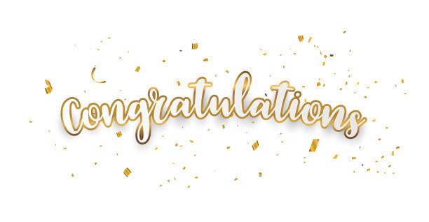 ilustraciones, imágenes clip art, dibujos animados e iconos de stock de felicidades oro fondo de celebración con confeti. - agradecimiento