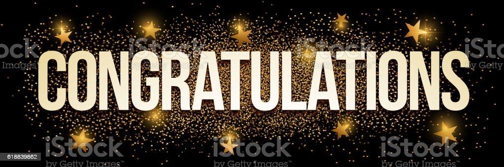 Congratulations golden glitter background banner. vector art illustration