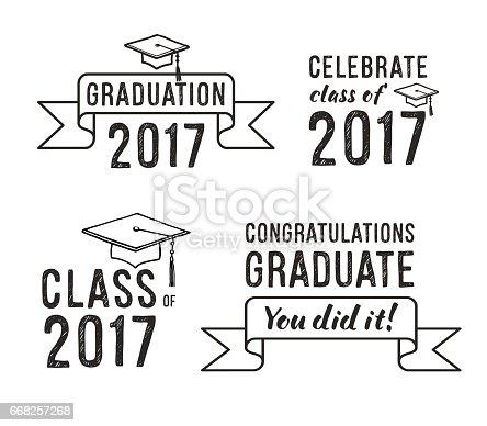 Congratulations Graduate 2017 Graduation Vector Set Stock