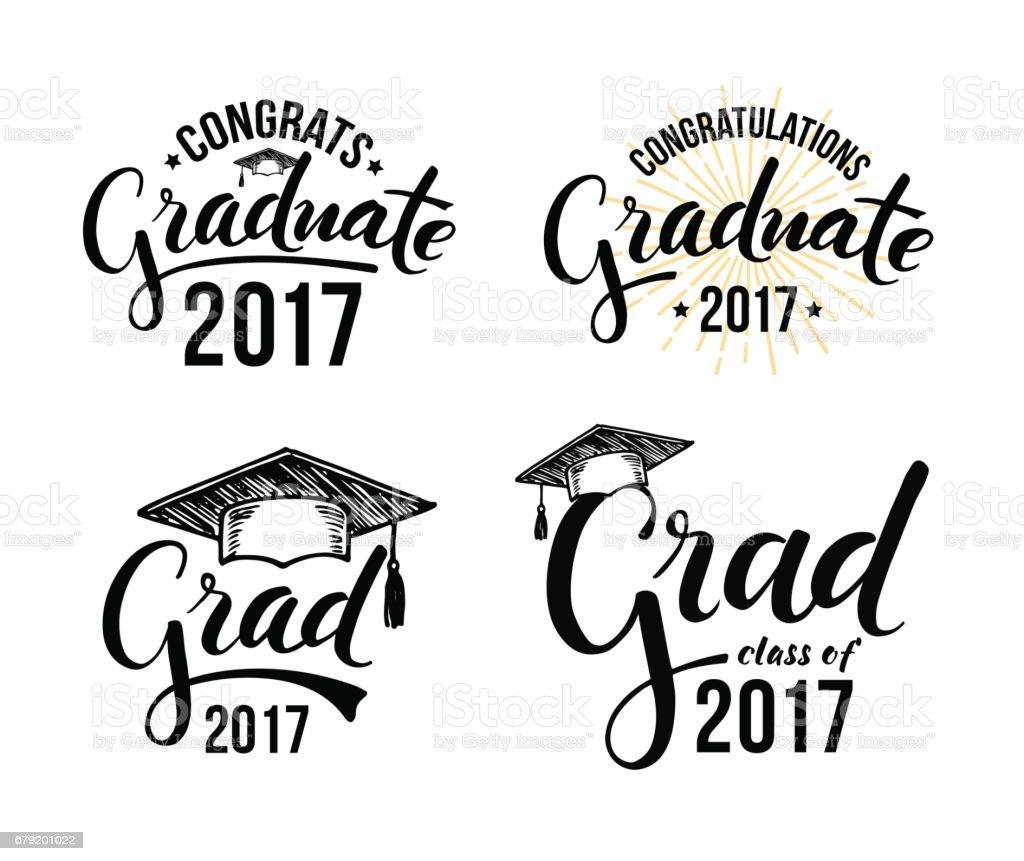 Congratulations graduate 2017 vector art illustration