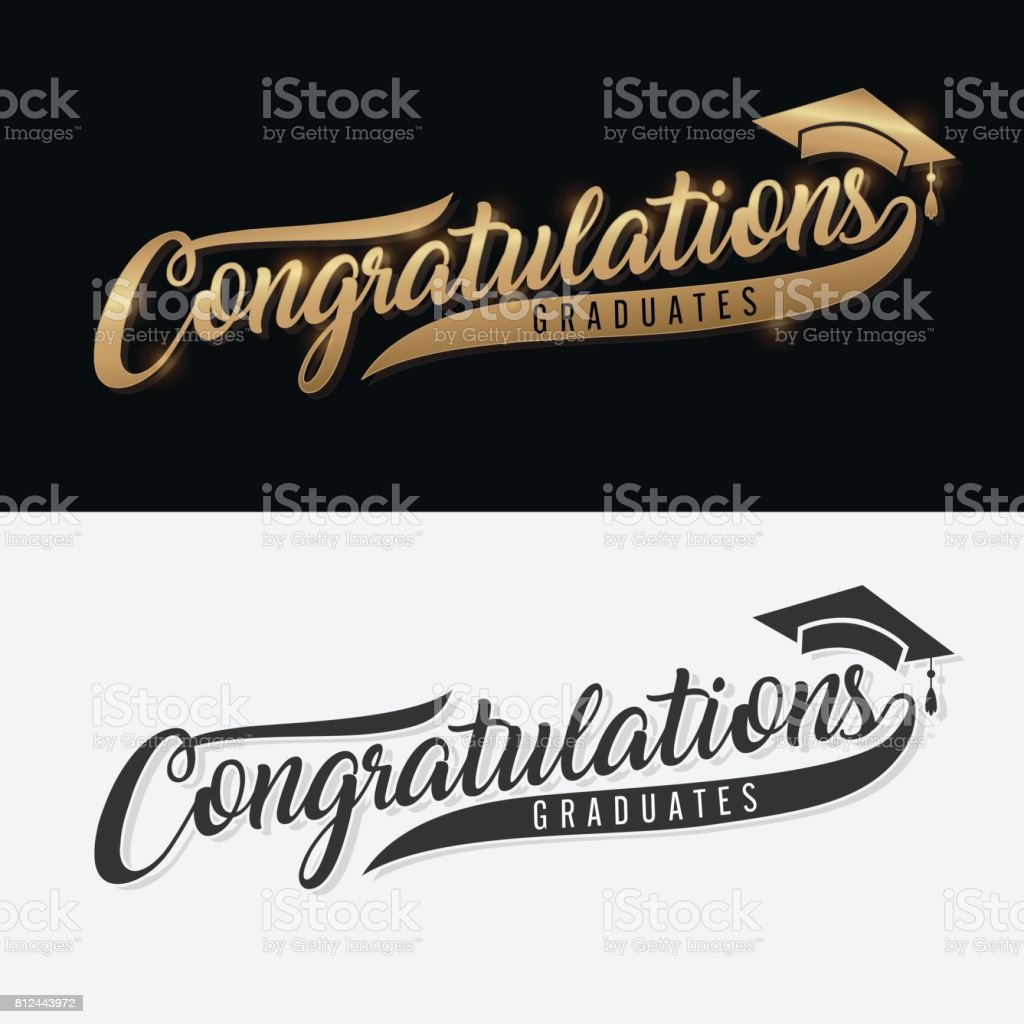 Congratulations Graduate. Calligraphy lettering. Handwritten phrase with gold text on dark and white background vector art illustration