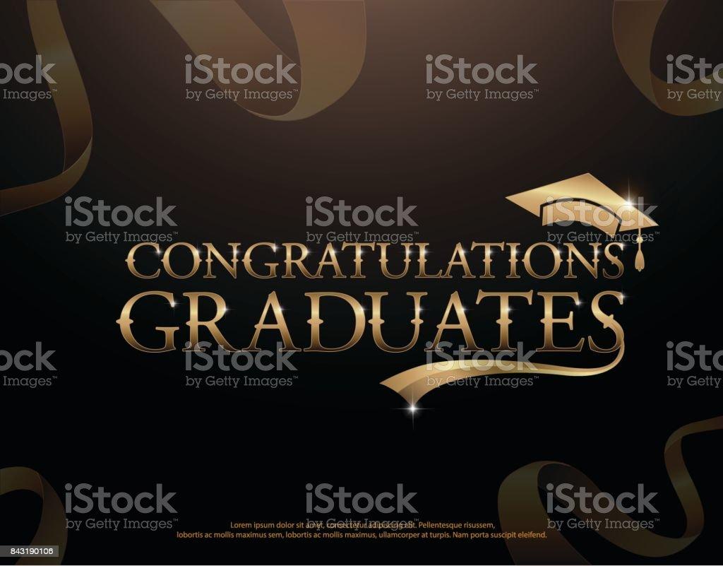 Ilustración de Plantilla De Logotipo Felicitaciones Graduado Con ...