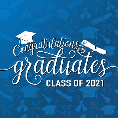 Congratulations graduates 2021 class of vector illustration on seamless grad background, white sign for the graduation party. Typography greeting, invitation card with diplomas, hat, lettering