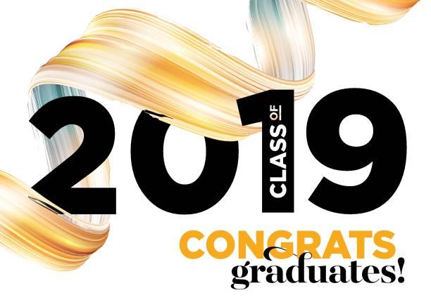 ilustraciones, imágenes clip art, dibujos animados e iconos de stock de felicitaciones graduados clase de 2019 vector logo. plantilla de fondo de graduación. banner de saludo para la ceremonia de graduación de la universidad. - graduación