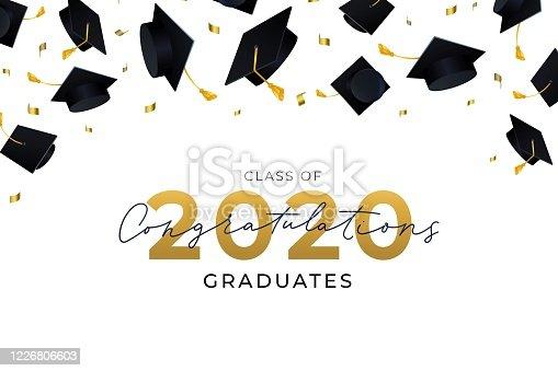 istock Congratulations graduates hats flying in air 1226806603