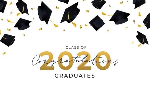 Congratulations graduates hats flying in air