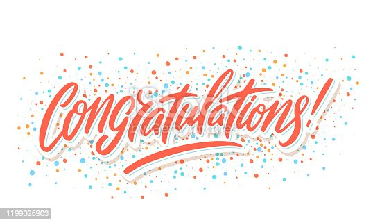 istock Congratulations. Greeting card. Vector lettering. 1199025903