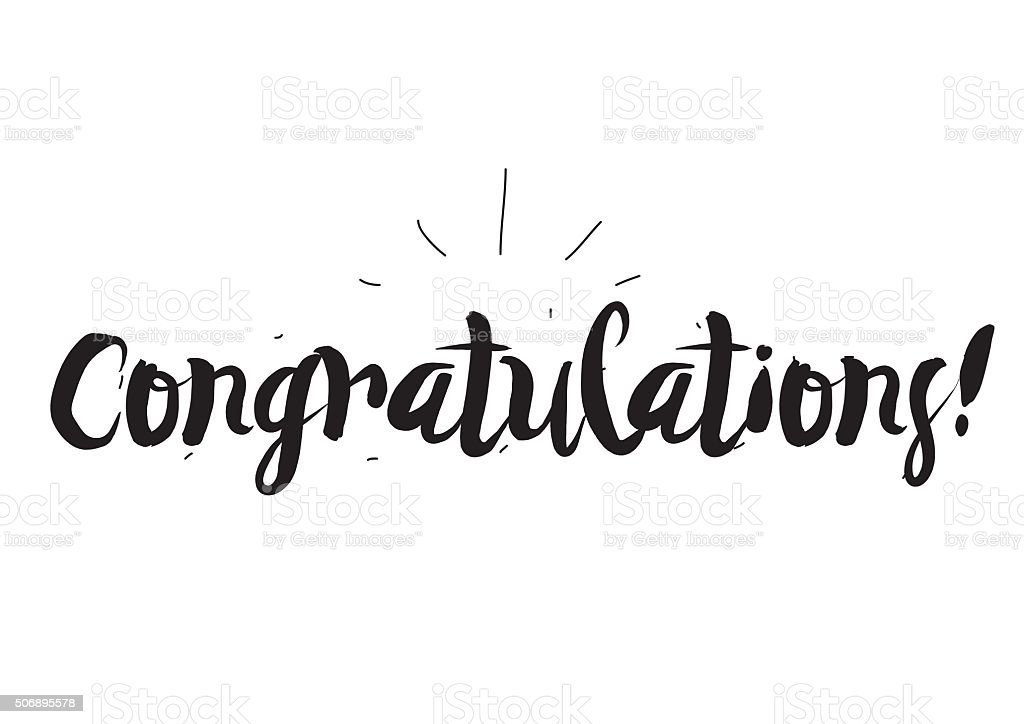 Congratulations greeting card with modern calligraphy and