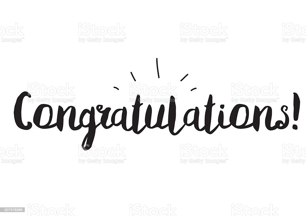 Congratulations greeting card with modern calligraphy