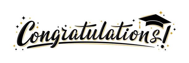 """ilustraciones, imágenes clip art, dibujos animados e iconos de stock de """"felicitaciones!"""" signo de saludo. felicidades graduado. - graduación"""