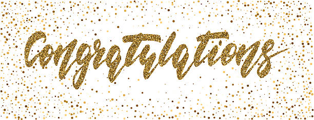 Congratulations - hand drawn lettering, modern brush pen calligraphy - Illustration vectorielle