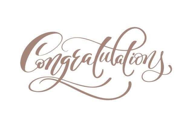 ilustraciones, imágenes clip art, dibujos animados e iconos de stock de felicitaciones mano letras calligraphic saludo tipografía vector mano de inscripción - agradecimiento