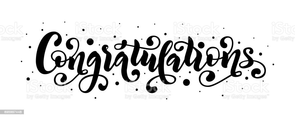 congratulations hand lettering quote hand drawn modern brush