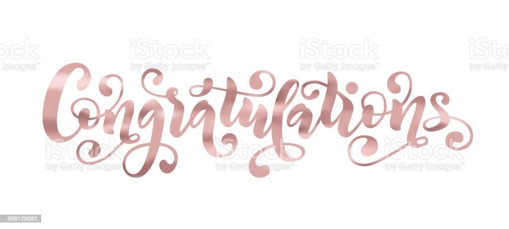 Congratulations Hand Lettering Quote Rose Gold Foil Effect Hand