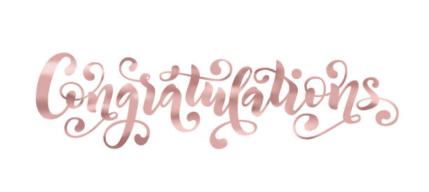 congratulations hand lettering quote rose gold foil effect hand drawn modern congrats word vector