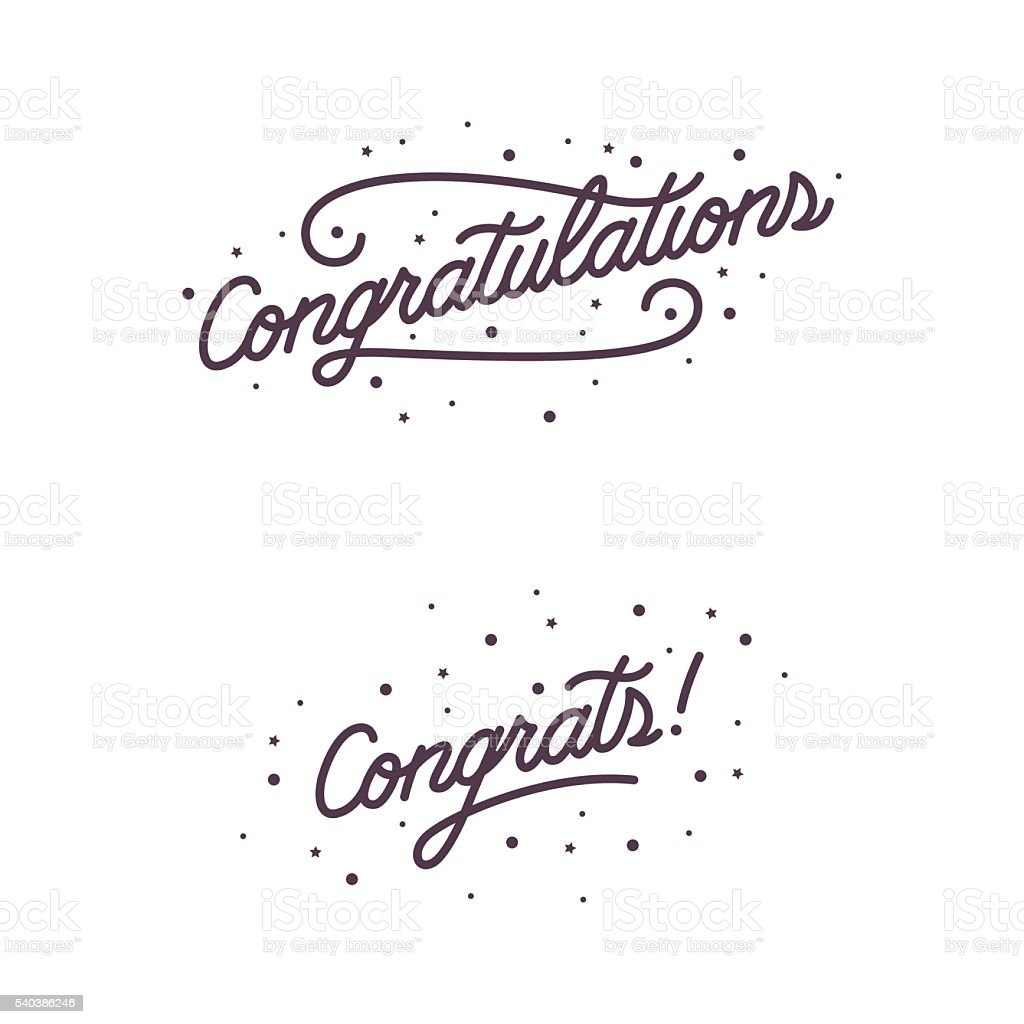 Congratulations. Hand lettering. Vector handwritten typography. vector art illustration