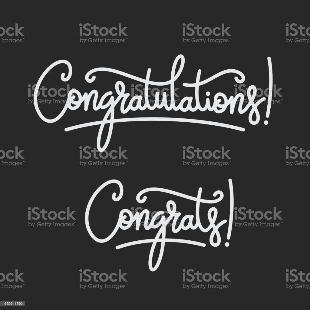 Congratulations. Hand lettering. Vector handwritten typography. vector art illustration