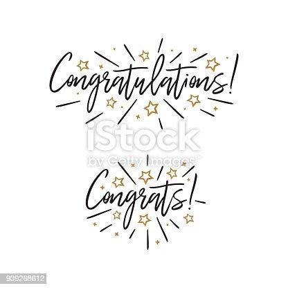 Congratulations Hand Lettering Vector Handwritten