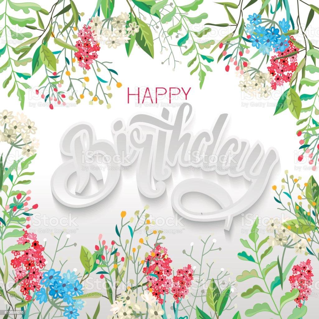 Herzlichen Glückwunsch Happy Birthday Mit Blumen Stock