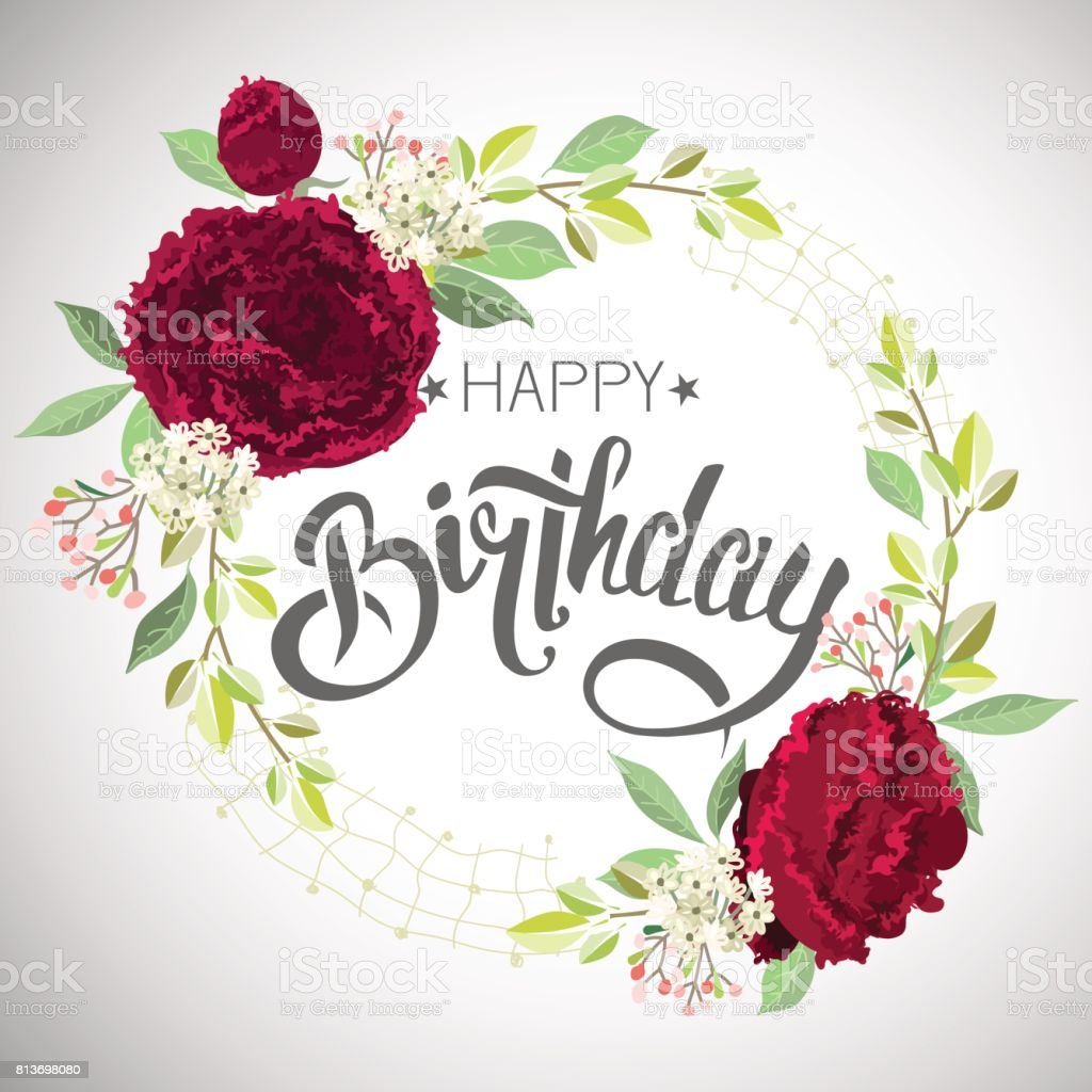 Congratulations Happy Birthday With Flowers Stock Vector Art More