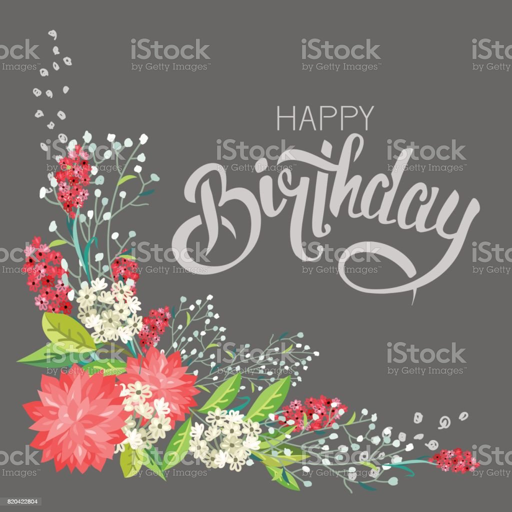 Congratulations happy birthday with flowers stock vector art congratulations happy birthday with flowers royalty free stock vector art izmirmasajfo
