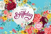 """congratulations """"happy birthday"""" with wreath of flowers"""