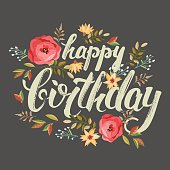 """congratulations """"happy birthday"""" with flowers"""