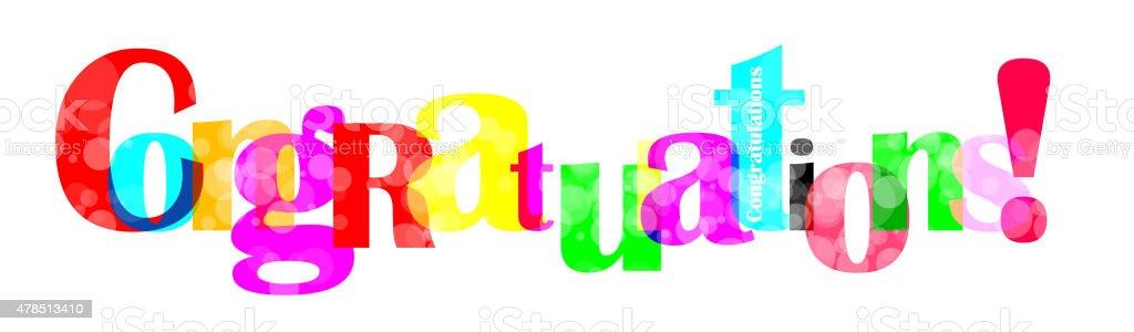 Congratulations letter for you design vector art illustration