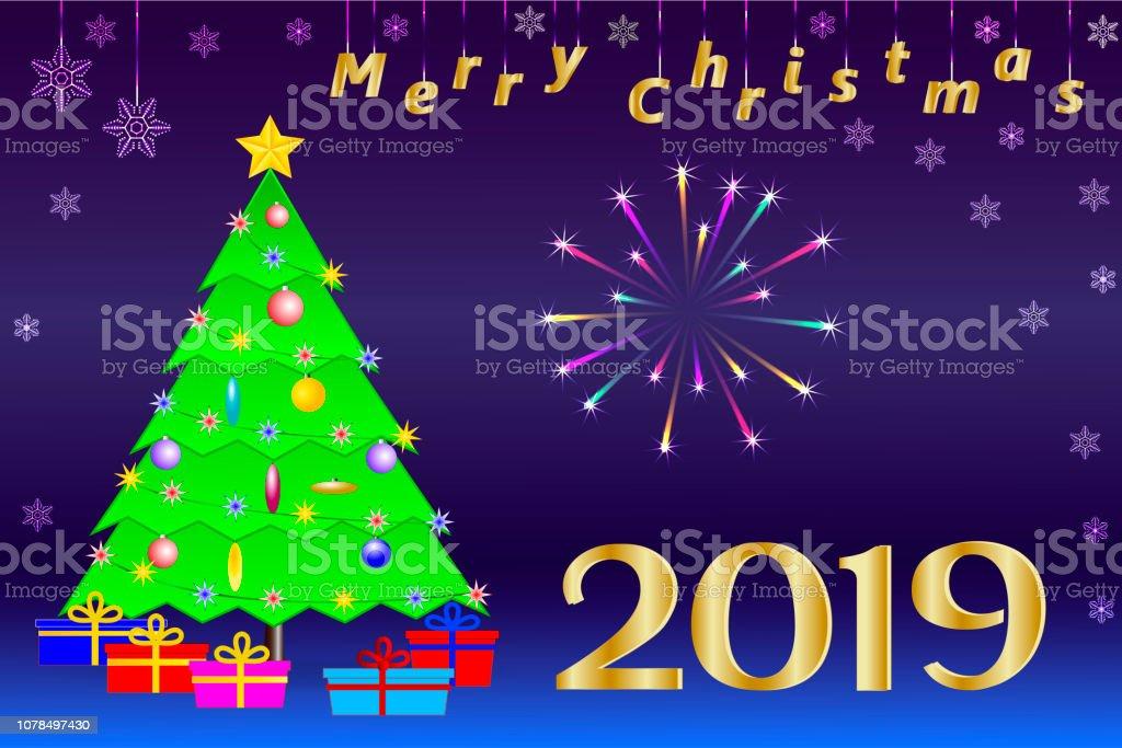 Felicitaciones Para Navidad 2019.Ilustracion De Felicitaciones Navidad 2019 Arbol De Navidad