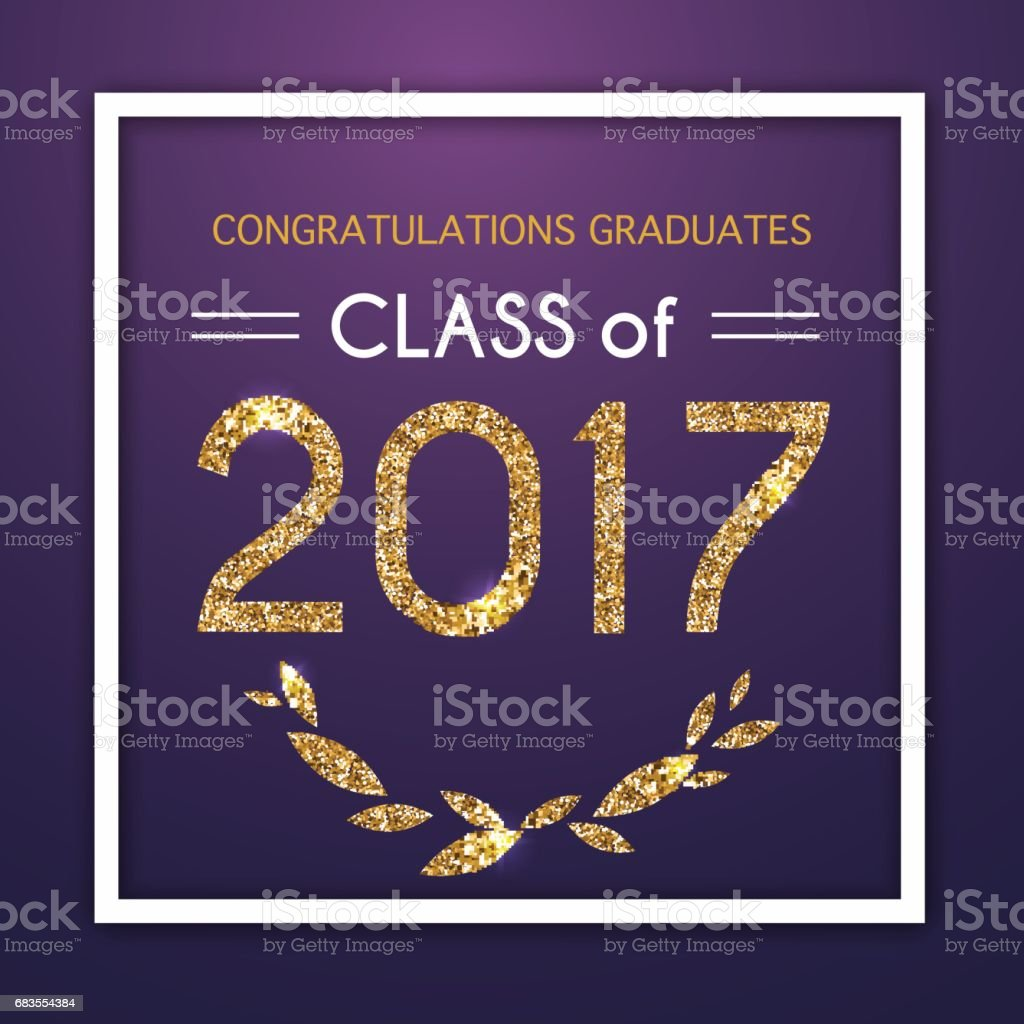 Congratulations on graduation 2017 class of. Party, Celebrate, High School / College Vector illustration on blue background. vector art illustration