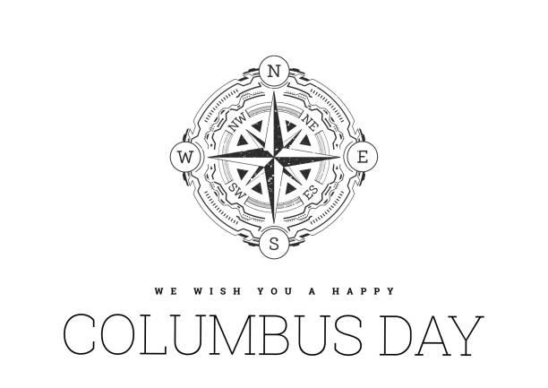 흰색 배경에 나침반과 콜럼버스의 날에 축하 - columbus day stock illustrations