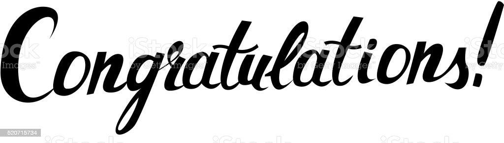 Congratulations original handwritten calligraphy vector art illustration