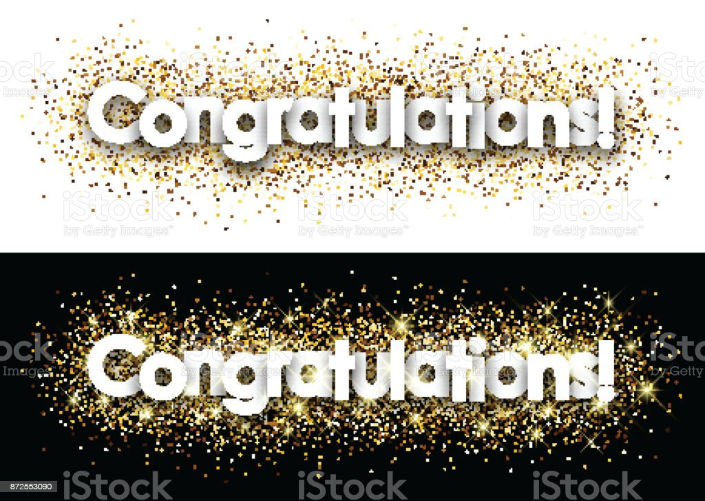 Congratulations paper banner. vector art illustration