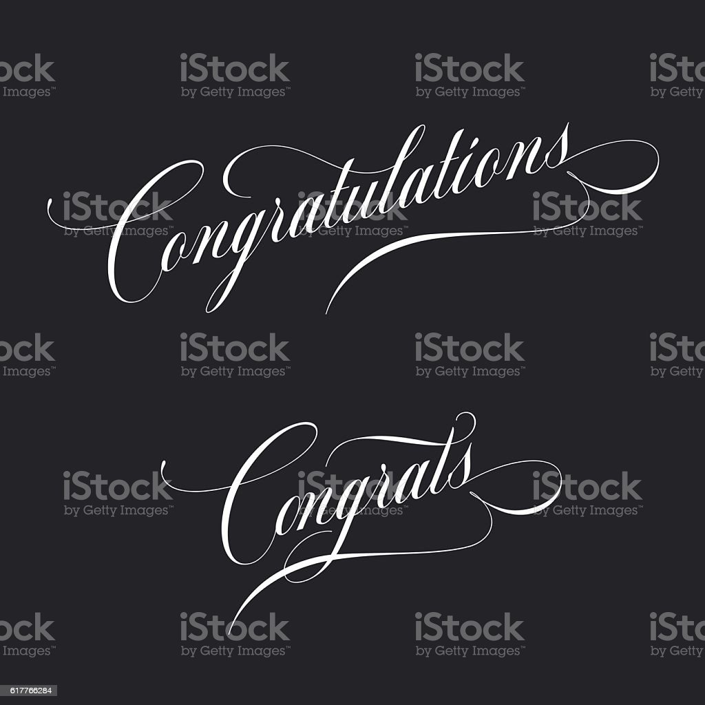 Congratulations. Retro style lettering. Calligraphic greeting inscription. Vector vintage typography. vector art illustration