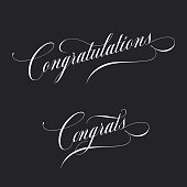 Congratulations. Retro style lettering. Calligraphic greeting inscription. Vector vintage typography.