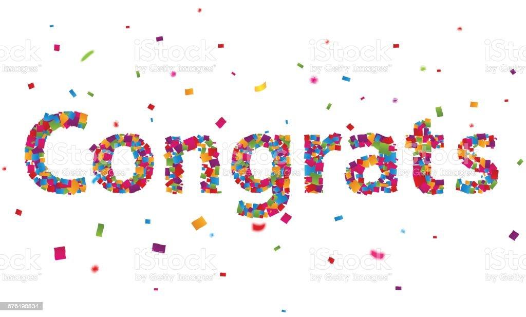 Congratulations sign with colorful confetti vector art illustration