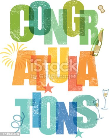 congratulations message in traditional letter press print style. CS3 and CS3 versions in the zip