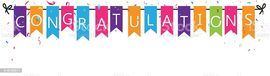 Congratulations with bunting flags vector art illustration