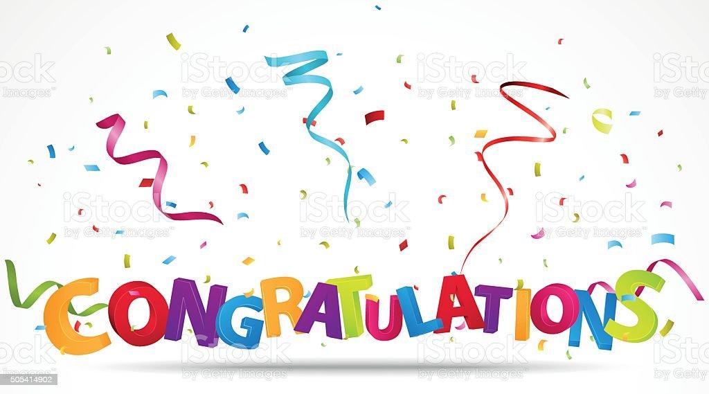 Congratulations with confetti vector art illustration