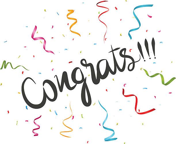congratulations with confetti - congratulations stock illustrations, clip art, cartoons, & icons