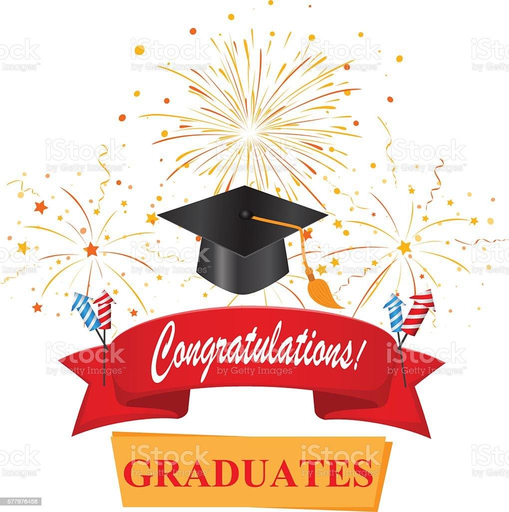 congratulations with graduate お祝いのベクターアート素材や画像を
