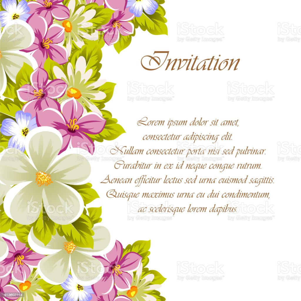 Congratulatory Frame Of Flowers For Design Textures Postcards Greeting Cards Birthday