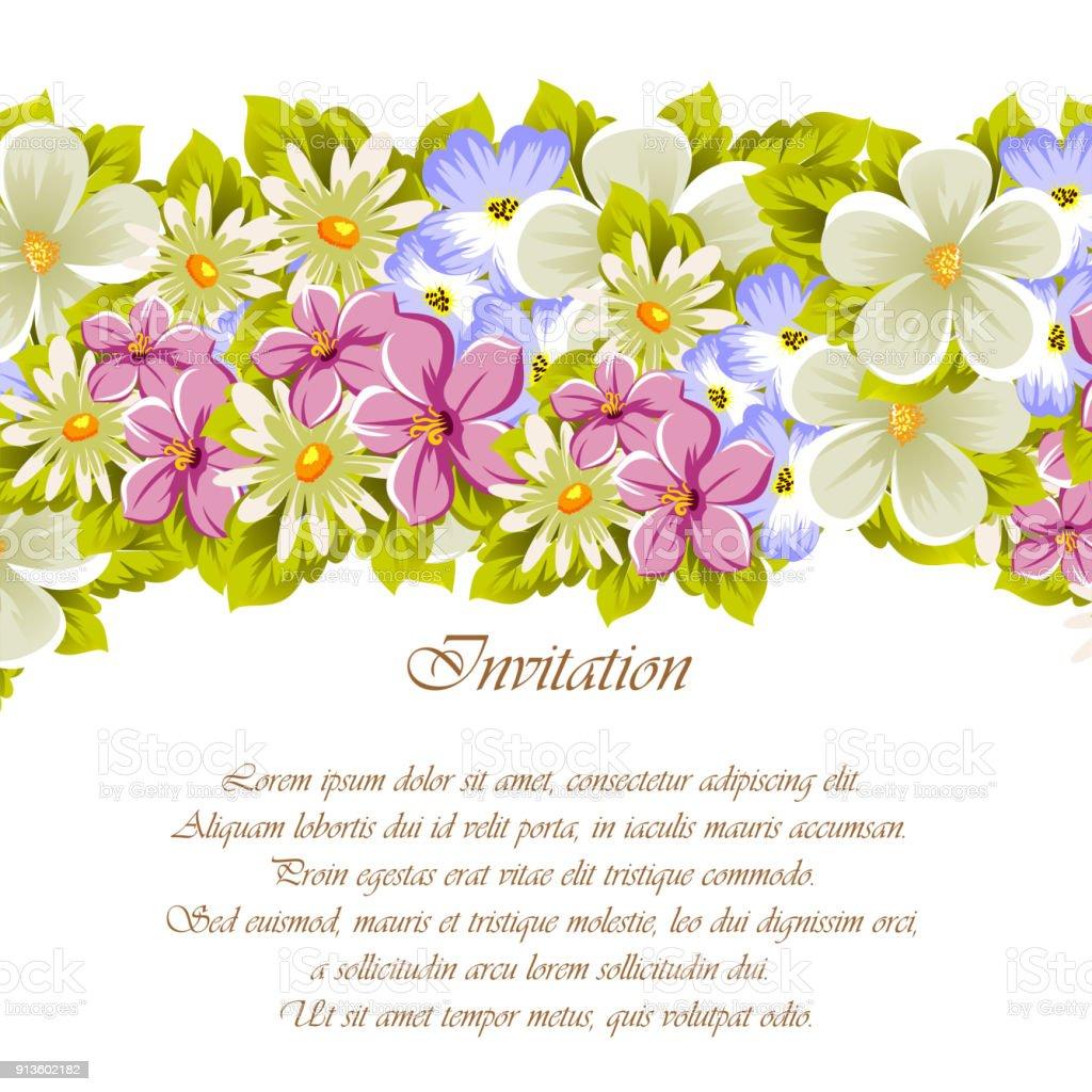 Ilustración de Felicitaciones Marco De Flores Para Texturas Diseño ...