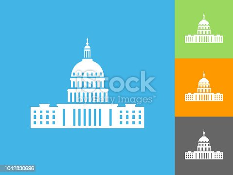 Congress  Flat Icon on Blue Background. The icon is depicted on Blue Background. There are three more background color variations included in this file. The icon is rendered in white color and the background is blue.