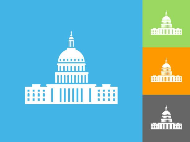 Kongress-flach-Symbol auf blauem Hintergrund – Vektorgrafik
