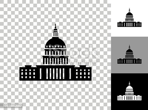 Congress Icon on Checkerboard Transparent Background. This 100% royalty free vector illustration is featuring the icon on a checkerboard pattern transparent background. There are 3 additional color variations on the right..