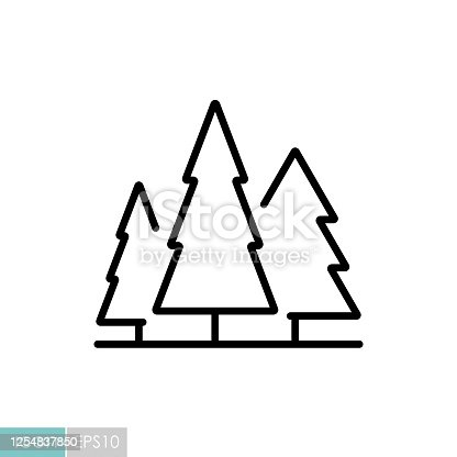 Conifer forest vector icon. Nature sign. Graph symbol for travel and tourism web site and apps design, logo, app, UI