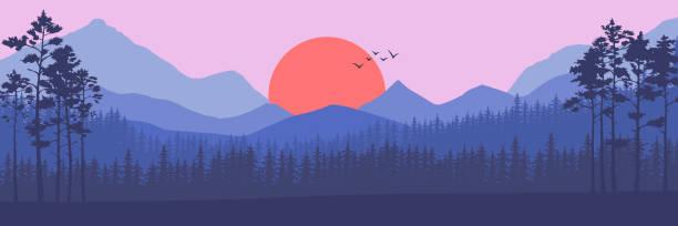 Nadelwald Silhouette Vorlage. – Vektorgrafik