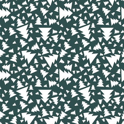 Coniferous snow forest seamless pattern vector